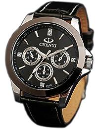 ufengke® männer armband aus schwarzem wasserdicht armbanduhren,dekorativ drei augen sechs zeiger leucht handgelenk armbanduhren für herren-schwarz, dekorative kleine Zifferblätter