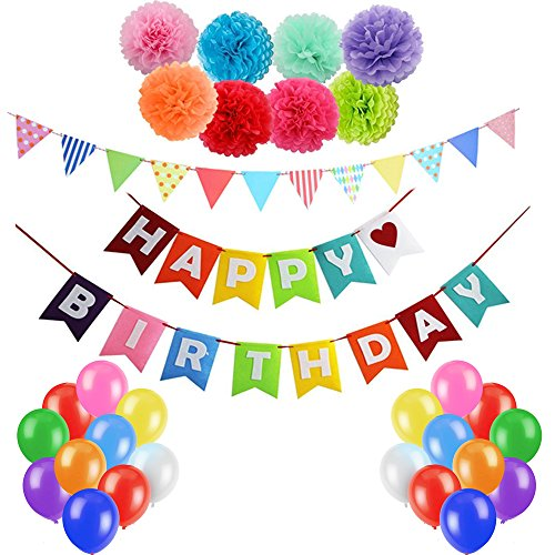 Eklead Happy Birthday Decorations Kit Supplies - 1 Pcs Happy Birthday Banner Flags, 8 Pcs Colorful Paper Honeycomb Balls,50 Pcs Party Balloons with 1 Pcs Rainbow Paper Garland for Birthday - 30. Kit Supplies Party Geburtstag