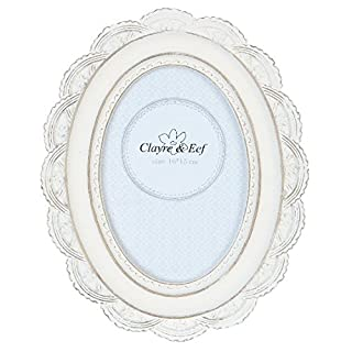 Clayre & Eef 2F0351 Bilderrahmen/Fotorahmen 17 * 2 * 21 cm / 10 * 15 cm Weiss oval