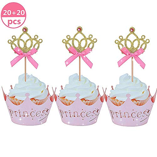 JeVenis 40 Stück Glitzernde Prinzessin Cupcake Topper Cupcake Wrapper Crown Cupcake Toppers Baby Shower Cupcake Dekoration für Geburtstag Baby Party Dekoration (Dekorationen Prinzessin Party)