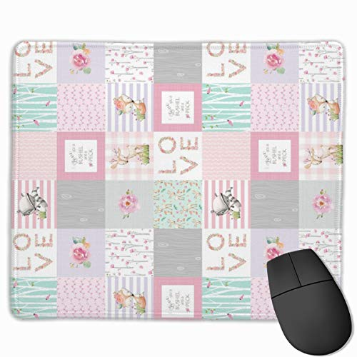 Blocks- Woodland Patchwork- I Love You A Bushel and A Peck Quilt Top (rotated) - Baby Girl Blanket Gray Lavender Pink_67059 Mouse pad Custom Gaming Mousepad Nonslip Rubber Backing 9.8