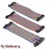 AZDelivery ⭐⭐⭐⭐⭐ Jumper Wire Kabel 3 x 40 STK. je 20 cm M2M/ F2M / F2F für Arduino und Raspberry Pi Breadboard
