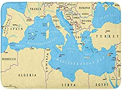 uytrgh Region Lands Mediterranes Meer Südeuropa Nordafrika und Nahost-Hauptstädte, rechteckig, rutschfest, für Küche, Badezimmer, 39,9 x 59,9 cm