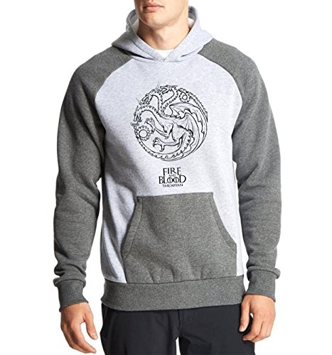 Fanideaz Cotton Full Sleeves Fire and Blood Handrawn Targaryan Hoodies For Men Premium Sweatshirt_Charcoal Melange_M