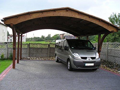 Carport en Bois a 2 Places - Couverture en Bardeaux Bitumineux Noir ou Verts. Dimensions: 607cmx 616 cm, hauteur: 340cm