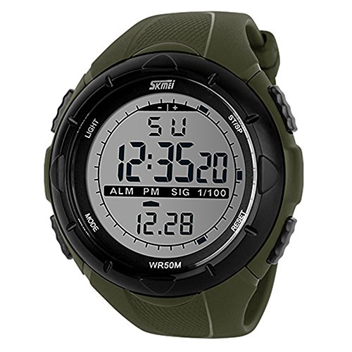 Bluelans® Waterproof Fashion Men LCD Digital Stopwatch Chronograph Date Alarm Casual Sports Running Wrist Watch (Green)