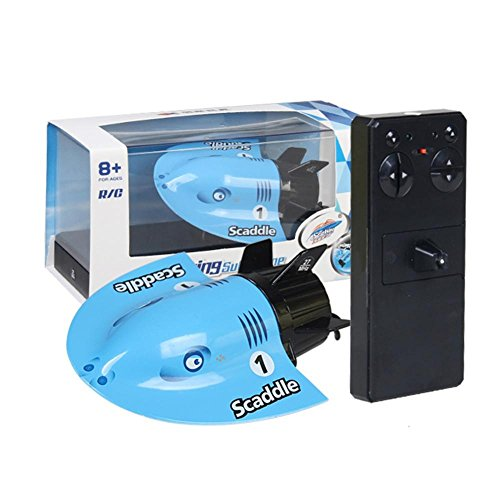 Dilwe Mini U Boot Spielzeug, RC Fernbedienung U Boot Unterwasser Sightseeing Modell Boot Fahrzeug Spielzeug für Kinder(Blau)