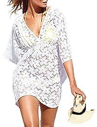 Déshabillé de plage pour maillot de bain à la mode en dentelle blanche florale à col en V MG Collection