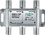 Axing BAB 4-16P 4-fach Abzweiger 16dB Kabelfernsehen CATV Multimedia DVB-T2 Klasse A+, 10dB, 5-1218 MHz metall