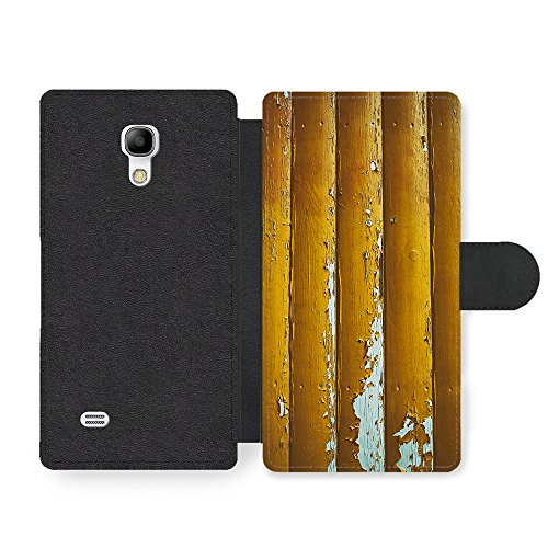 Distressed Faux Leather (Micro Gorilla Distressed Worn Out Gold Wood Effect New Pattern Style Faux Ledertasche Hülle fürSamsung Galaxy S4 Mini)