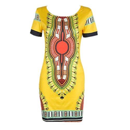 Vovotrade Frauen Traditionelle afrikanische Druck Dashiki Bodycon Sexy kurzärmelige Kleid (EU Size:40, Gelb)