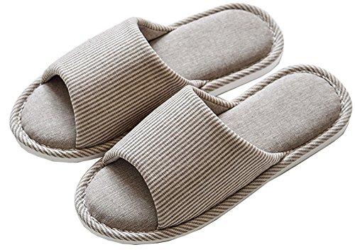Lijeer Pantofole Interne in casa Cotone Accappatoio Memory Foam Cotton Foam Pantofole Casa Casual Pantofole Open-Toes Spessa Grossa Pattini a Striscia a Strisce Gray vertical