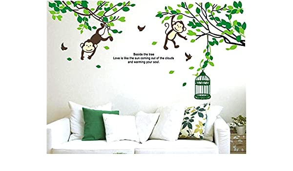 Rainbow fox wall sticker for babys bedroom monkey climbing a tree design amazon co uk baby