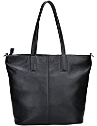 Damero Women'S Soft Leather Tote Bag With Shoulder Strap, Black