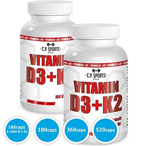 C.P. Sports Vitamin D3 + K2-180 vegane Kapseln hochdosiert, deutsche Herstellung, für Knochen, Zähne & Immunsystem, Sonnenvitamin, Premium Qualität, hoch bioverfügbares Vitamin D (1 Dose) -