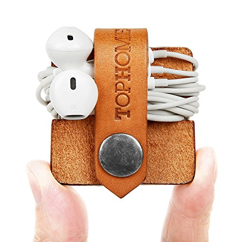 TOPHOME Echtes Leder Kopfhörer Organizer Cord Organizer,Kabelklammer Organizer,Kabelhalter Ohrhörer Kopfhörer Winder Leder Handgemachtes Leder für Arbeit, Reisen(Orange) -