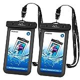 MoKo Wasserdichte Handyhülle 2 Stück, Unter Wasser Handytasche, Schneegeschützte Handy Beutel mit Schlüsselband für iPhone X/Xr/Xs/Max/8/7/6S Plus, Samsung Galaxy S9/S8 Plus, S7 Edge, Note 9/8, Huawei