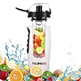 Youngdo Bottiglia Frutta 900 ml Borraccia con Infusore per Acqua aromatizzata Ideale per Interno e Esterno Sport Détox Plastica Tritan Senza BPA (Nero)