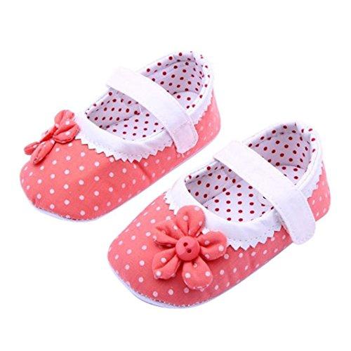 Omiky® Mode Sommer Baby Mädchen Blumen Schuhe Soft Sole Kleinkind PU Leder Krippe Schuhe Dunkelpink