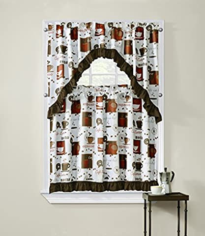 Regal Home Collections Cappuccino 3-Piece Printed Tier Curtain and Swag Set, 54 by 36-Inch, Brick Red/Brown