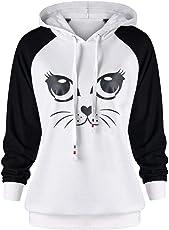 BaZhaHei Damen Sweatshirt Damen Katze Printed Long Sleeve Hoodie Sweatshirt Pullover mit Kapuze Pullover Tops