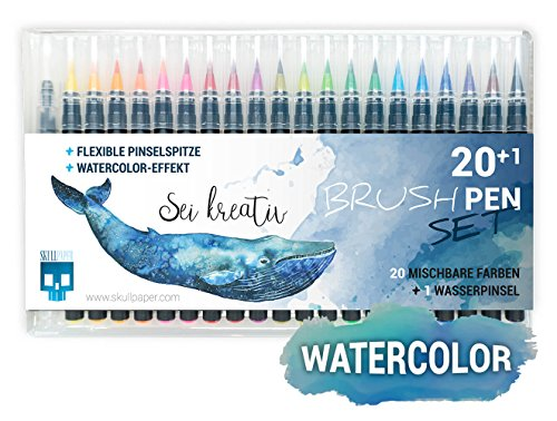 SKULLPAPER Watercolor Brush Pen Set - Pinselstifte weich und flexibel - langlebige Aquarellstifte