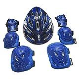 MagiDeal 7 Pcs Erwachsene Knieschoner Ellenbogenschützer Handschützer Helm Schutz Set - Blau