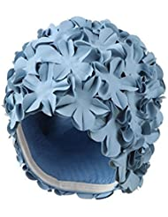 Vintage Retro Style gorra de baño gorro de natación señoras Aqua azul flores de jardín