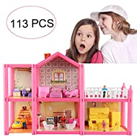 KUNEN Small Villa dream Doll House, Dream Girl Toy House with Furniture and Accessories, Cottage Uptown Doll House, Pretend Toy Playset Doll Playhouse Cottage Set