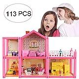 KUNEN Casa delle Bambole Sogno per Bambina Giocattolo dei Bambini 2 Piani con Mobili e Accessori,Casa Barbie Miniatura