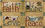 Toland Home Garden Faith Hope Love Peace 45,7x 76,2cm Dekorative Americana Fußmatte Rustikal Farm Fußmatte