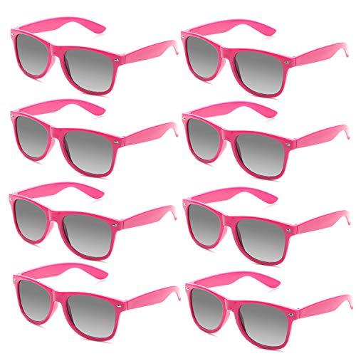 FSMILING Neon Farben Party Gefälligkeiten Herzform Sonnenbrille Set für Kinder Erwachsene (8 Stück Rose Rot)