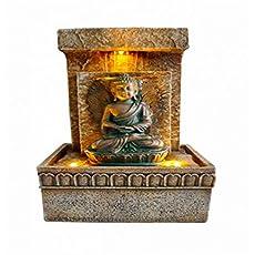 Dillards Fuente Agua Buda Meditando Luz Ambar