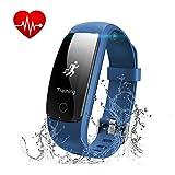 Fitness Armband Herzfrequenz, Runme Fitness Tracker Aktivitätstracker mit Schlafüberwachung, IP67 Wasserdicht 0.96 OLED Bluetooth Schrittmesser Smart Watch mit Anruf/SMS für iOS/Android Smartphone