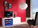 White Gloss TV Cabinet with RGB LED lights- for LED LCD 3D screens - 1100mm wide - for 32 to 55 inch screens - Gloss White painted unit with RGB LED Lights.UK mainland only delivery