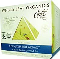 Choice Organic Whole Leaf Organics English Breakfast Tea Pyramids, 15-Count, 1.05-Ounce Boxes (Pack of 3)