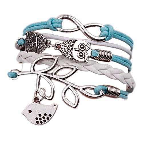 Culater®Vintage Handmade Infinity Silver 8 Owl Leaf Bird Leather Bracelet Wristband
