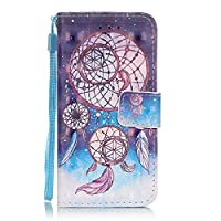 iPod Touch 6 Case,iPod Touch 5 Case Leather, ESSTORE-EU Fashionable New 3D Patterns PU Leather Stand Function Protective Cases Covers with Card Slot Holder Wallet Book Design Fordable Strap Case for iPod Touch 5th / iPod Touch 6th, Fancy Dreamcatcher