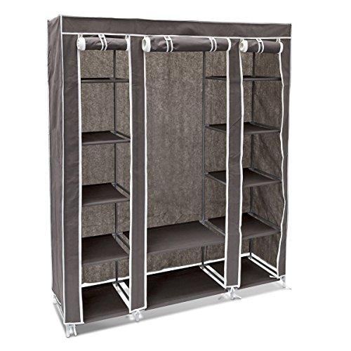 Relaxdays Faltschrank groß HxBxT: 175,5 x 148 x 43 cm Stoffschrank mit Kleiderstange und 12 Ablagen als Garderobenschrank und Campingschrank zum Falten Kleiderschrank aus Stoff staubsicher, anthrazit