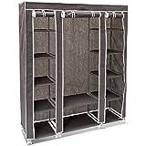 Relaxdays 10018857_139 - Armario/ropero plegable hecho de tubos de acero y recubrimiento de tela, organizador para ropa y toallas 12 estantes, 175.5 x 148 x 43 cm, color antracita