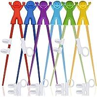 SourceTon 6Paar Einfachen Training Stäbchen mit Helfer, Training Essstäbchen für Rechts Oder Linkshänder Kinder Jugendliche Erwachsene Anfänger.-Smile