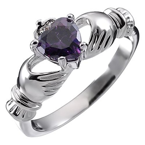 Sterling Silver, Birthstone irlandese Claddagh dicembre Con