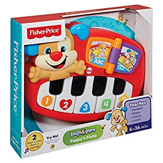 Fisher-Price Puppy's Piano, Baby Electronic Educational Toy with Words, Letters, Numbers, Colours, Shapes, Phrases and Songs, 6 Months and Above