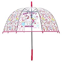 Unicorn Transparent Stick Umbrella, Bubble Dome Auto Open Umbrella Windproof for Outdoor Weddings,School Back