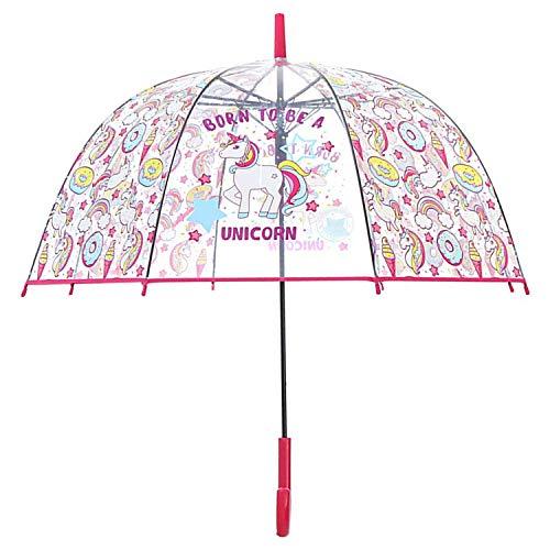 Unicornio Paraguas Transparente con Forma de Cúpula y Función Antiviento. Paraguas Vogue Burbuja Infantil, Paraguas Originales Largo, Niño and Niña