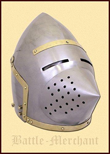 Preisvergleich Produktbild Spätmittelalterliche Beckenhaube Hundsgugel, um ca. 1390 schaukampftauglich Ritterhelm LARP Wikinger