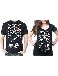 8a33fd343 Silk Road Tees Gemelos de Maternidad Pareja Camiseta a Juego de la Mujer  Traje de Esqueleto