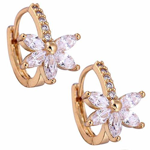 Yazilind Schmuck Charming Glatte 18K Gold überzogen Blume Design Inlay glänzend Rund Oval Clear Crystal Kleine Ohrringe ürFrauen