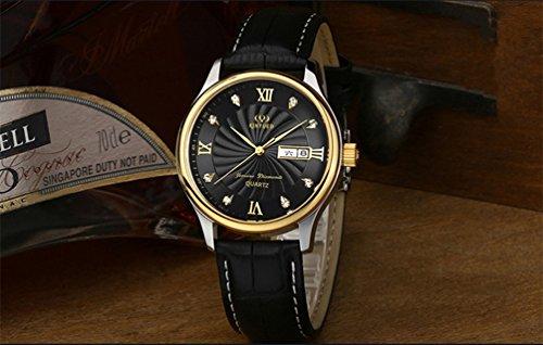 Ssq-cxo orologio casual da lavoro, design semplice da orologio con doppio calendario, movimento al quarzo orologio al quarzo da uomo in vetro minerale raffinato