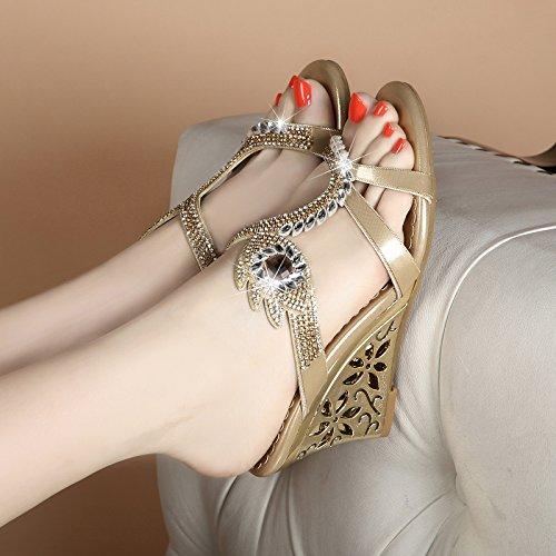 LGK&FA Estate Donna Sandali primavera ed estate sandali sandali di cuoio in cristallo di diamante con il diamante scarpe con punta di pendenza pantofole 34 blu 35 golden eyes